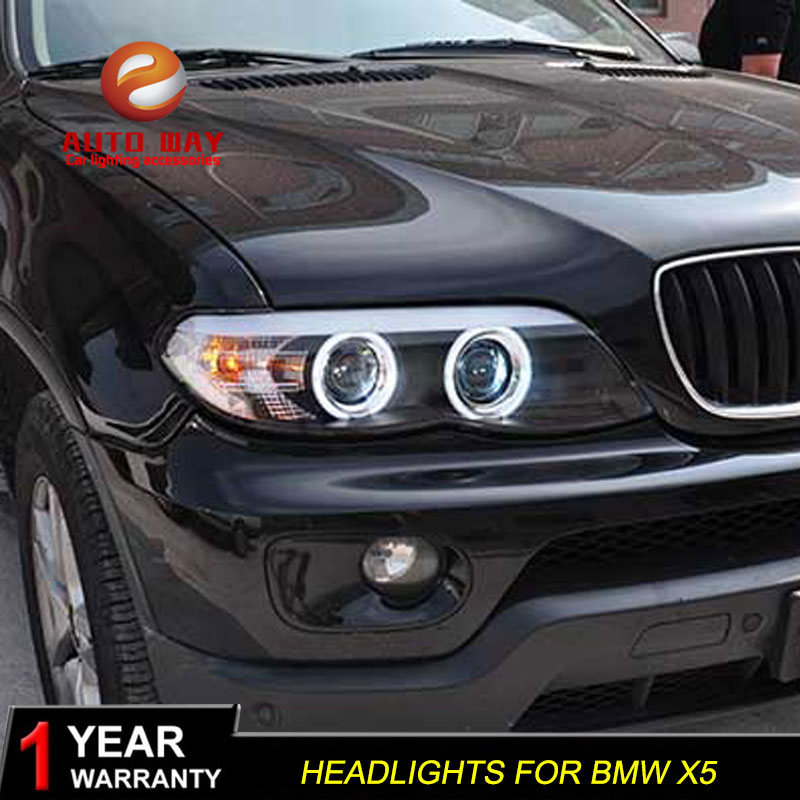 Car Styling Case for BMW <font><b>X5</b></font> <font><b>E53</b></font> 2003-2006 Headlight for BMW <font><b>X5</b></font> Head Lamp Auto LED DRL Double Beam H7 HID Xenon lens image