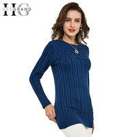 Thick Slim Long Geometric Women Sweater 2015 New Casual Winter Autumn Pullover O Neck Elegant Pull
