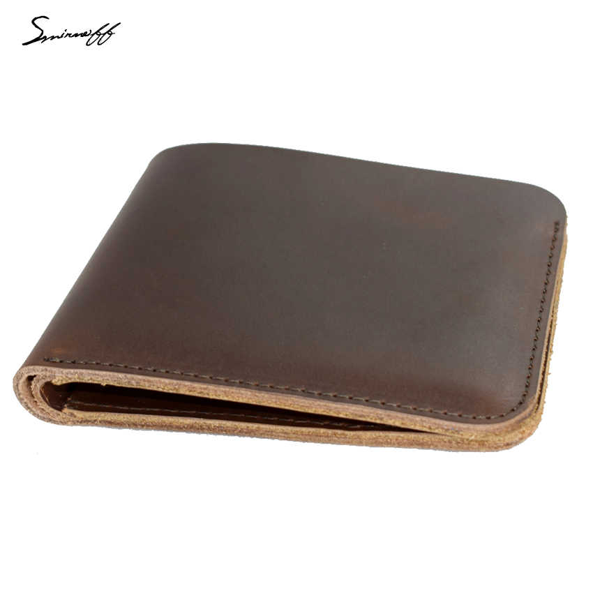 Smirnoff Vintage Men Wallet Simple Style Handmade Leather  Name Men Short Small Wallet Card Purse Male Slim Mini Purse