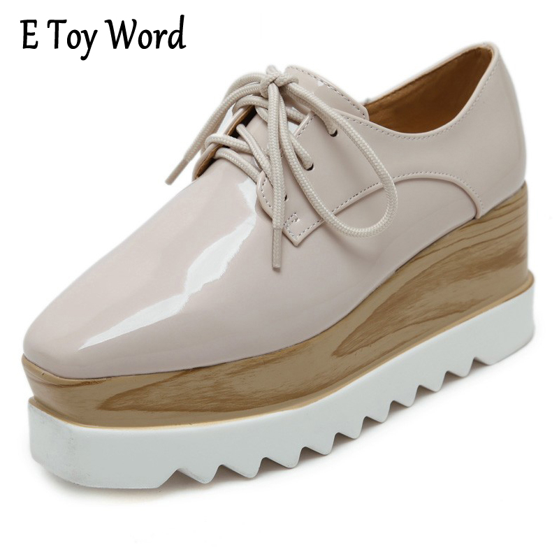 E TOY WORD 2017 Luxury Brand Women Platform Oxfords Flats Shoes Patent Leather Lace-Up Square toe Beige Black Creepers Zapatos цены онлайн