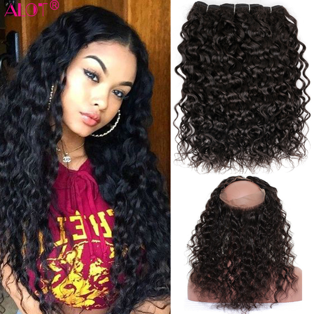ALot Water Wave Human Hair Bundles With 360 Lace Frontal Closure Non Remy Brazilian Hair Weave