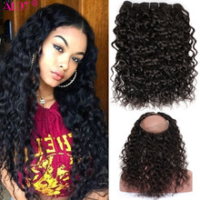ALot Water Wave Human Hair Bundles With 360 Lace Frontal Clo