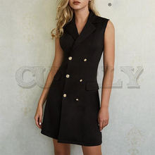 CUERLY Sexy double breasted blazer women dress Summer sleeveless plus size black dresses Office ladies vintage solid vestidos