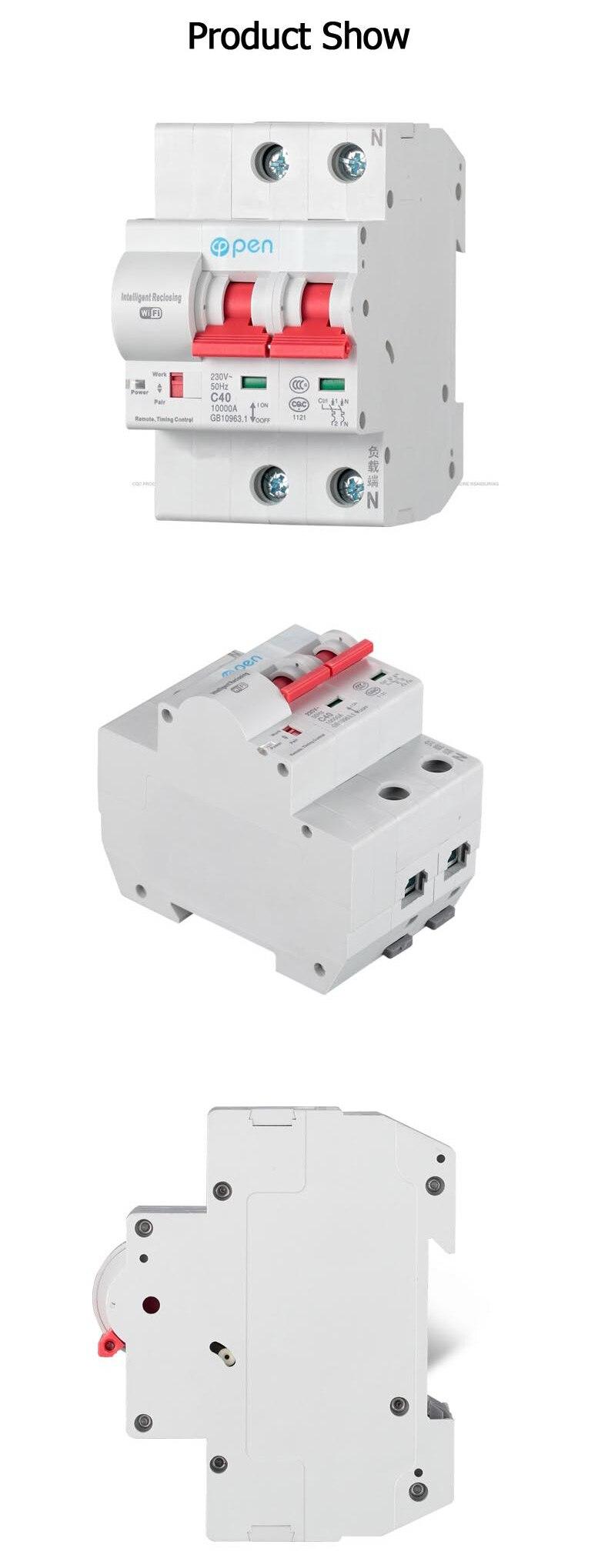 1P 32A-125A Disjoncteurs T/él/écommande temporisation commutateur fonction de verrouillage intelligent r/éenclencheur commutateur Wifi alexa google 100A