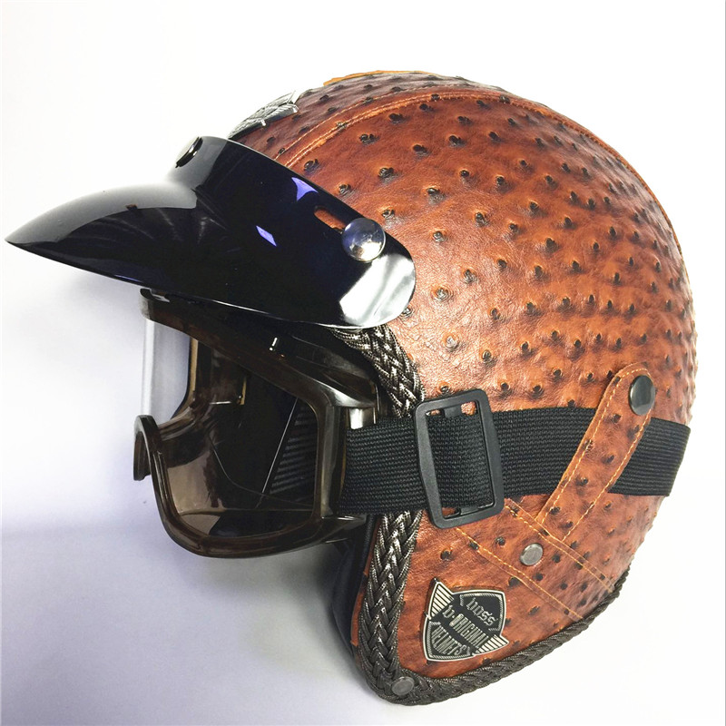red Adult Open Face Half Leather Helmet Harley Moto Motorcycle Helmet vintage Motorcycle Motorbike Vespa with gl