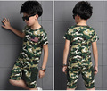 2017 Summer New Children Clothing Sets Boys tracksuit Outfits Cotton Kids T shirt shorts Army Camouflage training Clothes suit