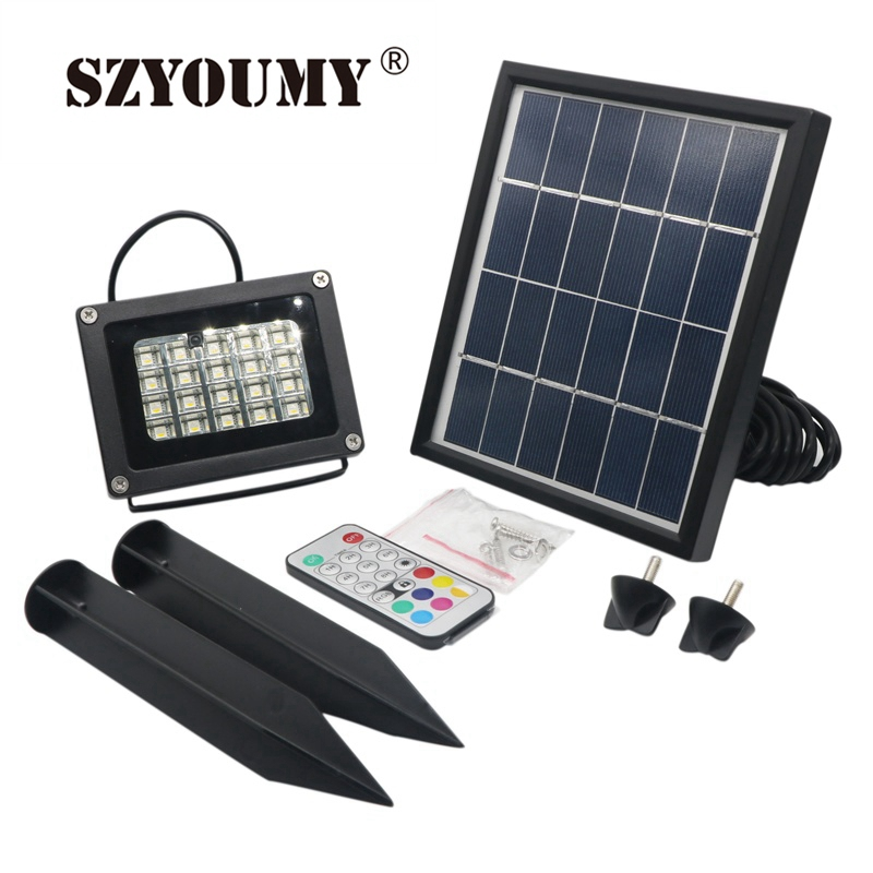 SZYOUMY  20 LED Solar FLOOD Light Waterproof RGBW Or White IP65 with Remote Control Solar Flood Light Aluminum Outdoor Garden