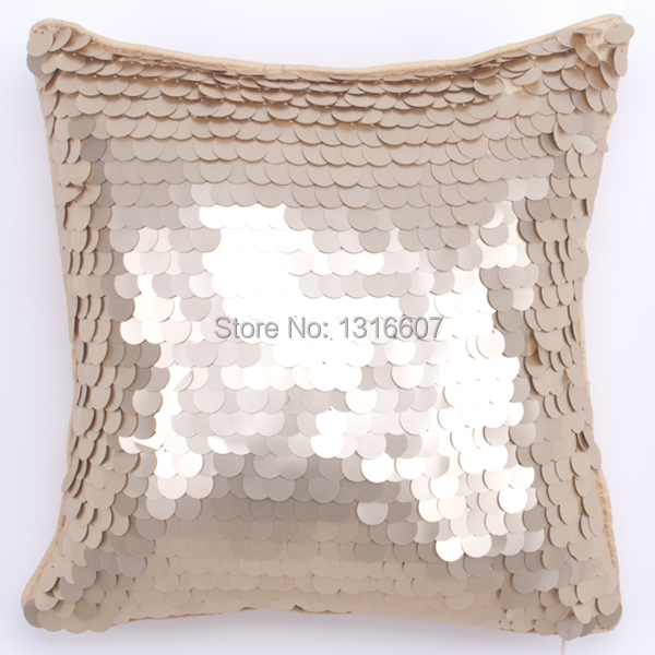 New Fashion High Quality Small Round Sequins Pillow Cover Golden Sequins Pillow Case Solid ...