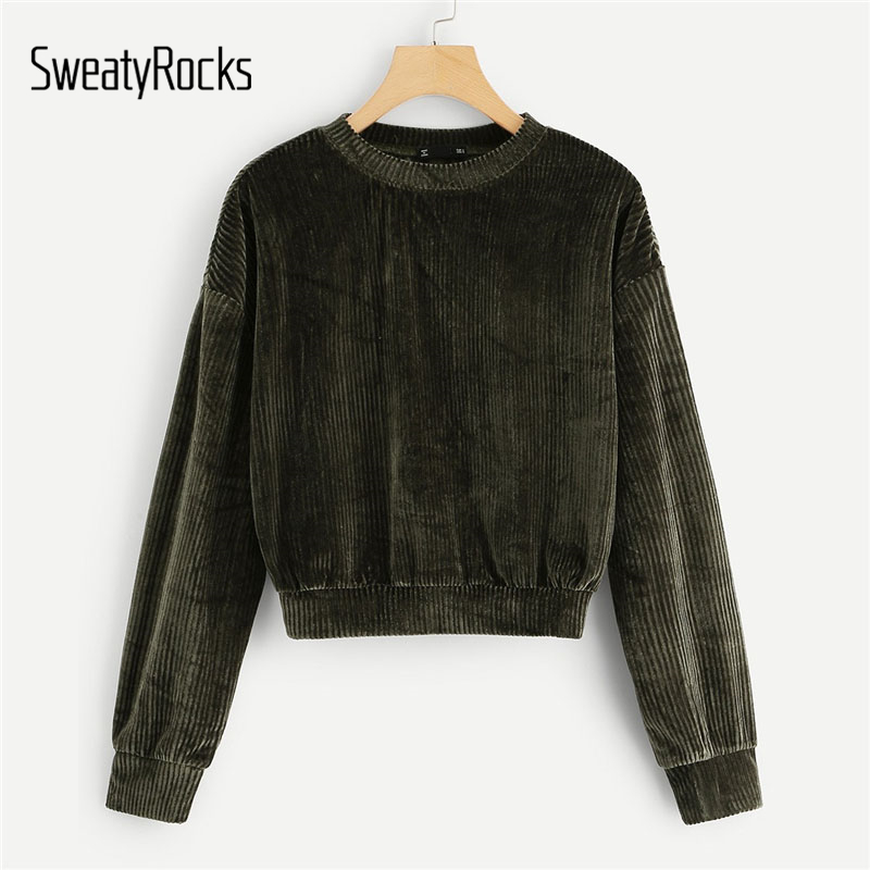 SweatyRocks Army Green Ribbed Velvet Sweatshirts Long Sleeve O-Neck Active Wear Pullovers 2018 Autumn Women Casual Sweatshirts