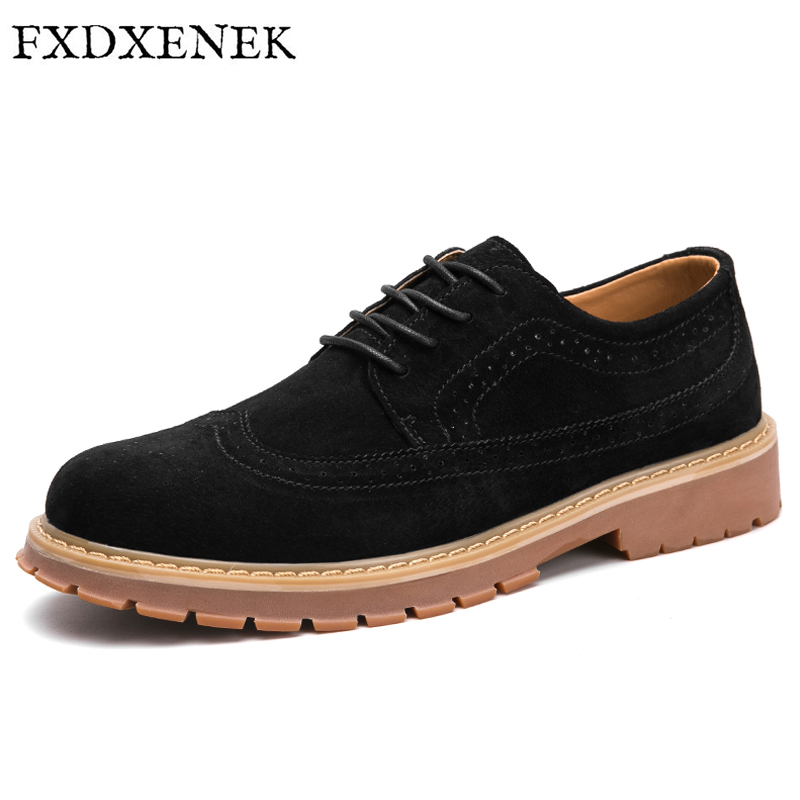 FXDXENEK Autumn Men Casual Shoes New 2017 PU Leather Shoes Men Oxford Fashion Lace Up Dress Shoes Flat Outdoor Work Brogue Shoes 2017 new spring imported leather men s shoes white eather shoes breathable sneaker fashion men casual shoes