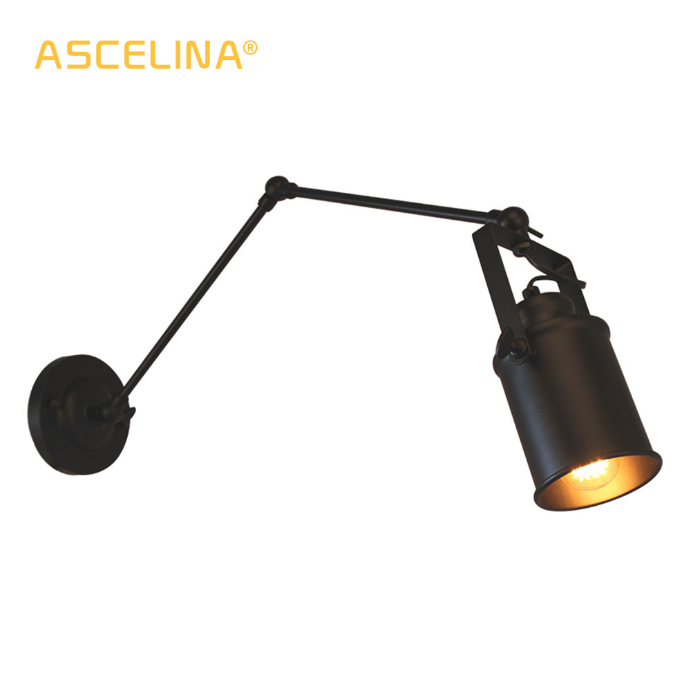 Arm Lamp Us 22 64 39 Off American Loft Wall Lamp Ascelina Long Swing Arm Wall Lamps Adjustable Metal Led Wall Light Home Lighting For Bedroom Restaurant In