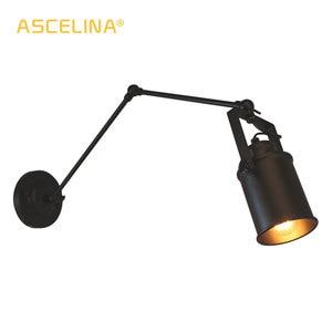 Image 1 - Amerikan Loft duvar lambası ASCELINA uzun salıncak kolu duvar lambaları ayarlanabilir Metal led duvar ışık ev aydınlatma yatak odası için/restoran