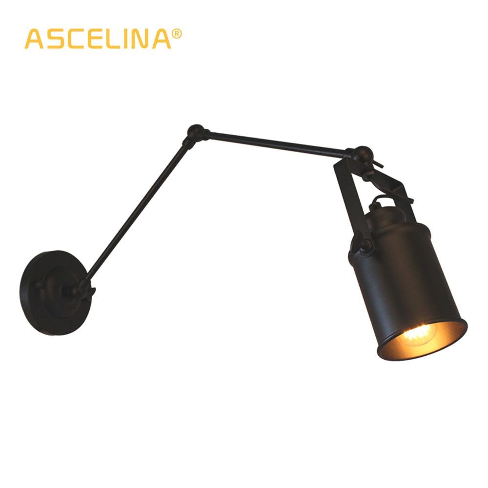 sotao americano lampada de parede ascelina longo braco oscilante lampadas de parede ajustavel metal conduziu a