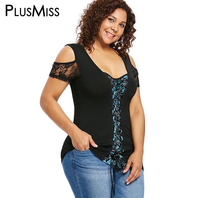 71e510a5e71 PlusMiss Plus Size 5XL XXXXL XXXL Sexy Lace Crochet Tunic Tops Women Big  Size Vintage Cold