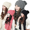 scarf wool blend women scarf hat cap Accessories 1 Set Women Warm Woolen Knit Hood Scarf Shawl Caps Hats girls Suit from