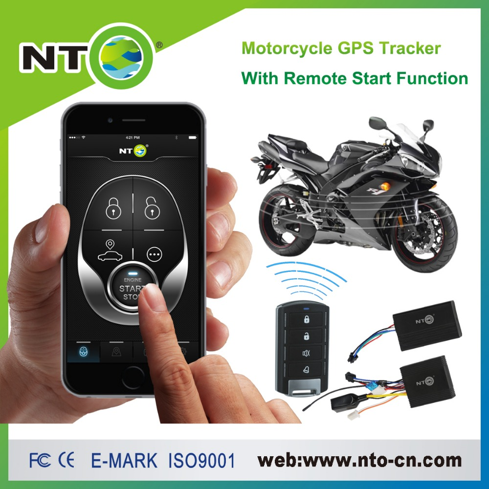smart motorcycle alarm with gps tracking with remote control start engine/  app start engine/ cut off oil