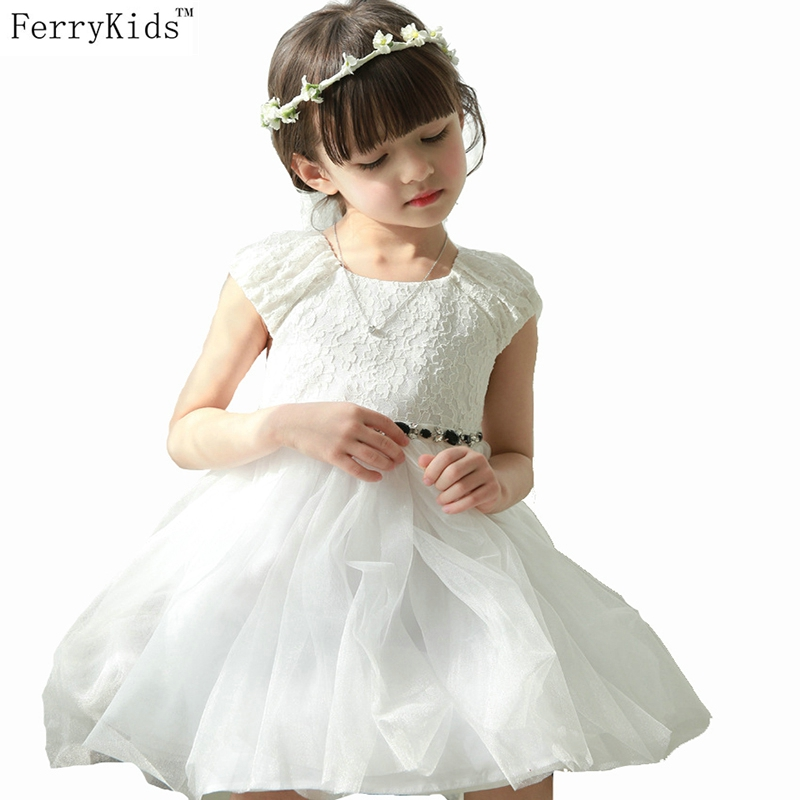 ФОТО 2016 Summer Children Girls Dresses White Lace Kids Girl Princess Dress Red Tulle Rhinestone Wedding Party Birthday Clothing