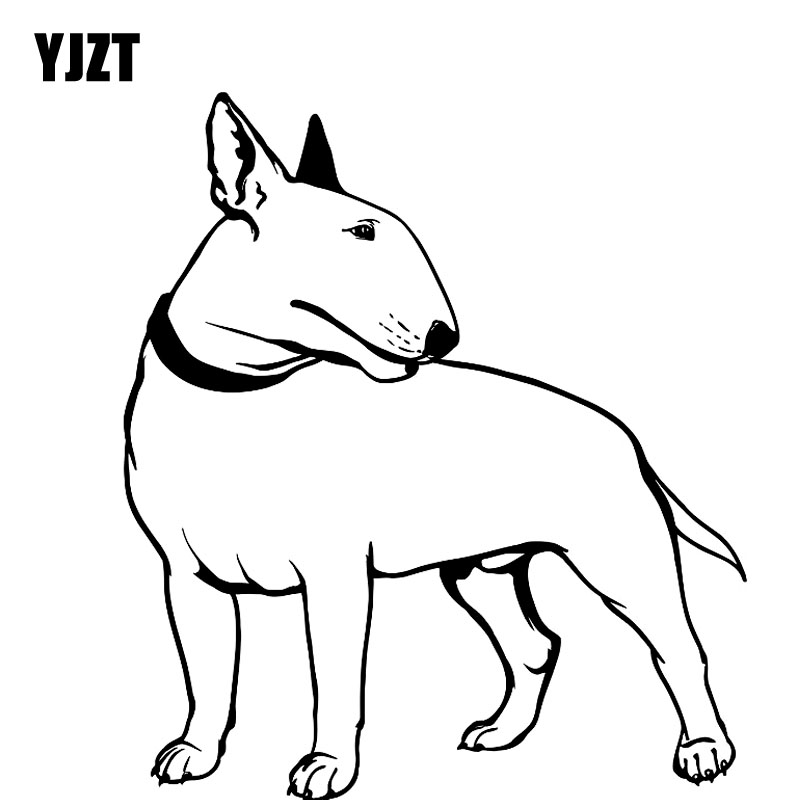 YJZT 17CM*19.2CM Decal Bullterrier Dog Pet Animal Feet Tail Guard Vinyl Car Stickers Black/Silver C10-00260 ...