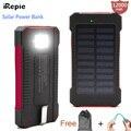 Irepie panal solar banco de la energía 12000 mah powerbank cargador de batería puerto usb a prueba de agua al aire libre con la linterna para el iphone samsung