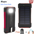 iRepie Solar Panal Power Bank 12000mah Powerbank Outdoor Battery Charger USB Port WaterProof with Flashlight For iPhone Samsung
