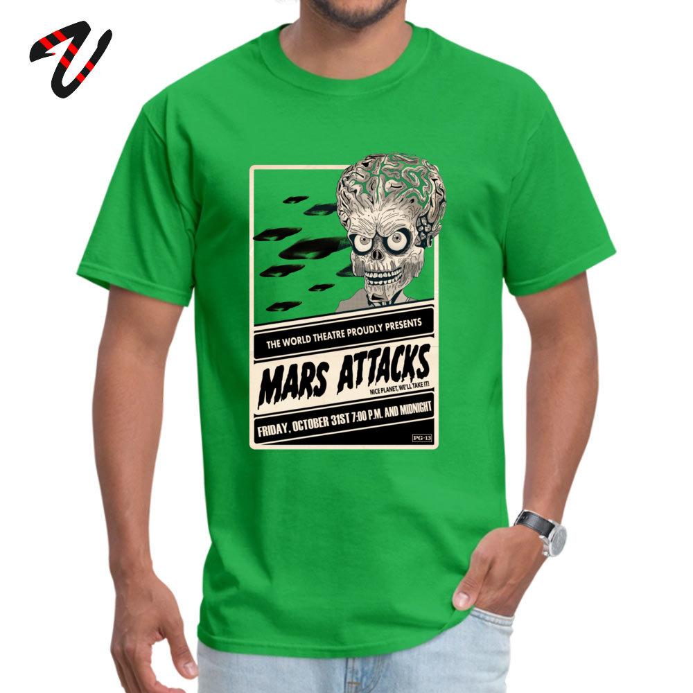 Mars Attacks! Discount Men T Shirt Crew Neck Short Sleeve 100% Cotton Tees Summer T Shirt Top Quality Mars Attacks! -2878 green