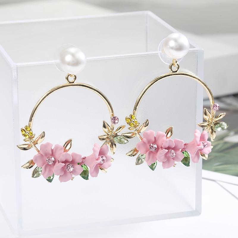 5c864ef1dc US $1.50 Korean Style Flower Hoop Earrings For Women Golden Color ...