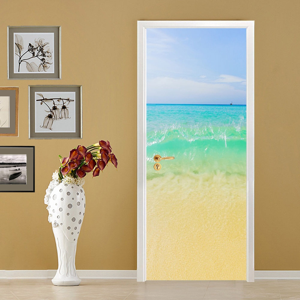 Free shipping Beach wave Door Wall Stickers DIY Mural Bedroom Home ...