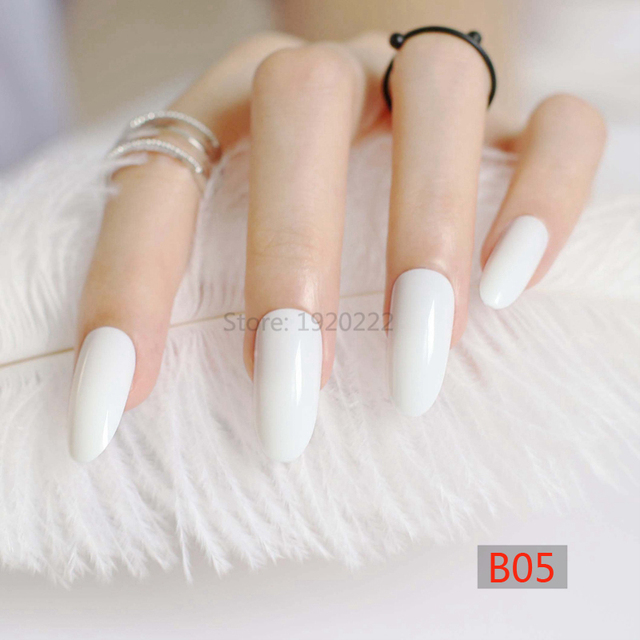2017 Fashion Pointed long oval candy false nails tail tip Nail ...