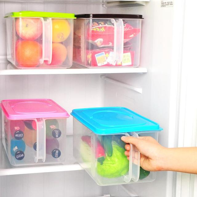 Plastic Storage Box With Handle A Cover Refrigerator Kitchen Cabinets Sealed Tank Can Stack