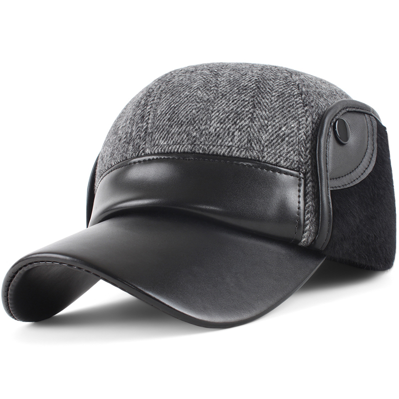 Hat woolen ear protector male cap winter hat thickening thermal man quinquagenarian faux leather pu baseball