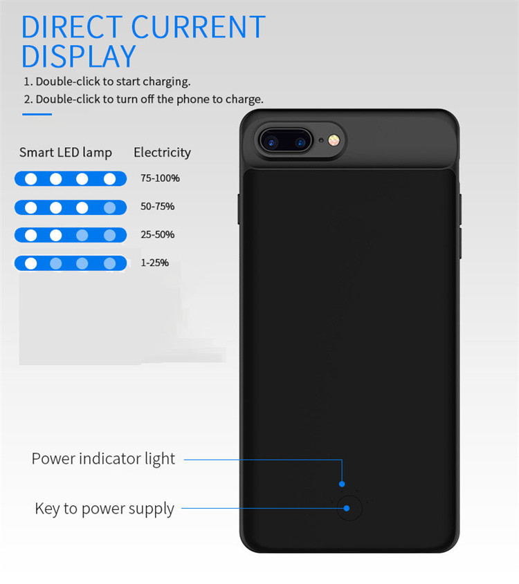 Mobile Phone - Battery Case For iphone 6 6s 7 8 2500/3700/5000/7000mah Power Bank Charing Case For iphone