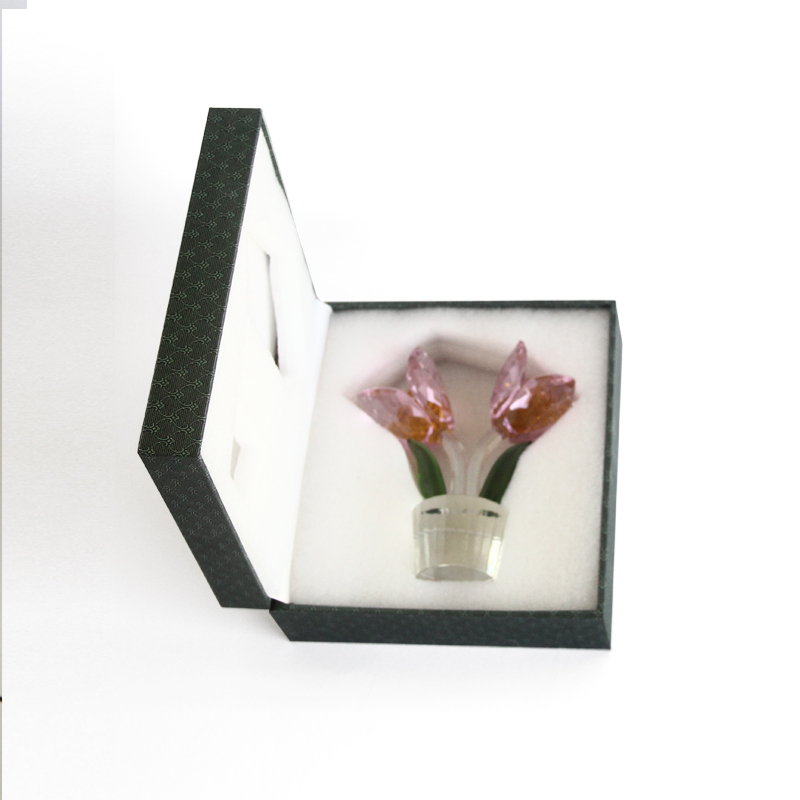 1 pcs Crystal Glass Tulip Flower Figurines Craft Wedding Valentine's Day favors and gifts Souvenir Table Decoration Ornaments - 6
