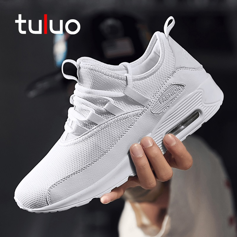 TULUO New Couple Black White Classic Running Shoes Outdoor Breathable Cushioning Unisex Fitness Sneaker Sport For Men Women