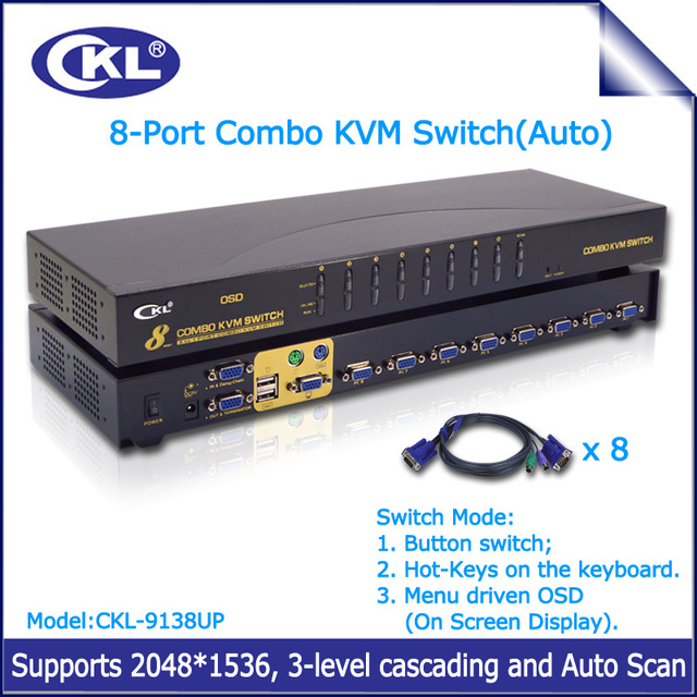 CKL-9138UP 8 port OSD USB PS/2 Combo KVM SWITCH VGA Montagem Em Rack com 8 Cabos de Vídeo Switcher para Teclado Original rato