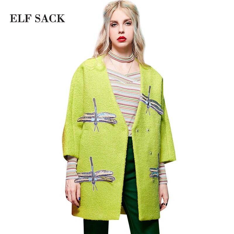 Эльф Sack Z зима вышивка аппликация v-образным вырезом пальто круг его шерстяная верхняя одежда женский средней длины