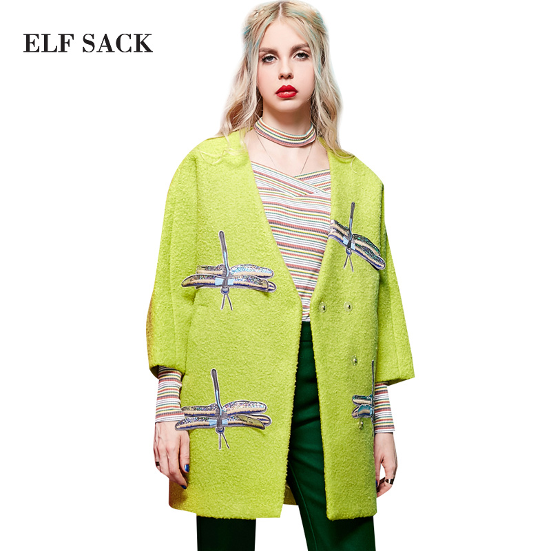 Detalle Comentarios Preguntas sobre Elf saco Z invierno bordado applique v cuello  abrigo círculo que prendas de vestir exteriores de lana femenina medio ... f092ba2688bd