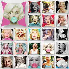 Pink  Marilyn Monroe blow bubbles pillow case two sides pattern cases cover square covers size 45*45cm