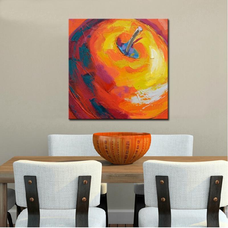 Keuken Muur Decoratie.Handgeschilderde Moderne Abstracte Geel Apple Olieverf Voor Eetkamer