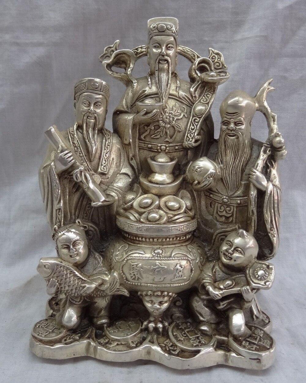 002662 Chinese Silver Mammon God Fish YuanBao Coin Peach Brass FuLuShou Buddha Statue002662 Chinese Silver Mammon God Fish YuanBao Coin Peach Brass FuLuShou Buddha Statue