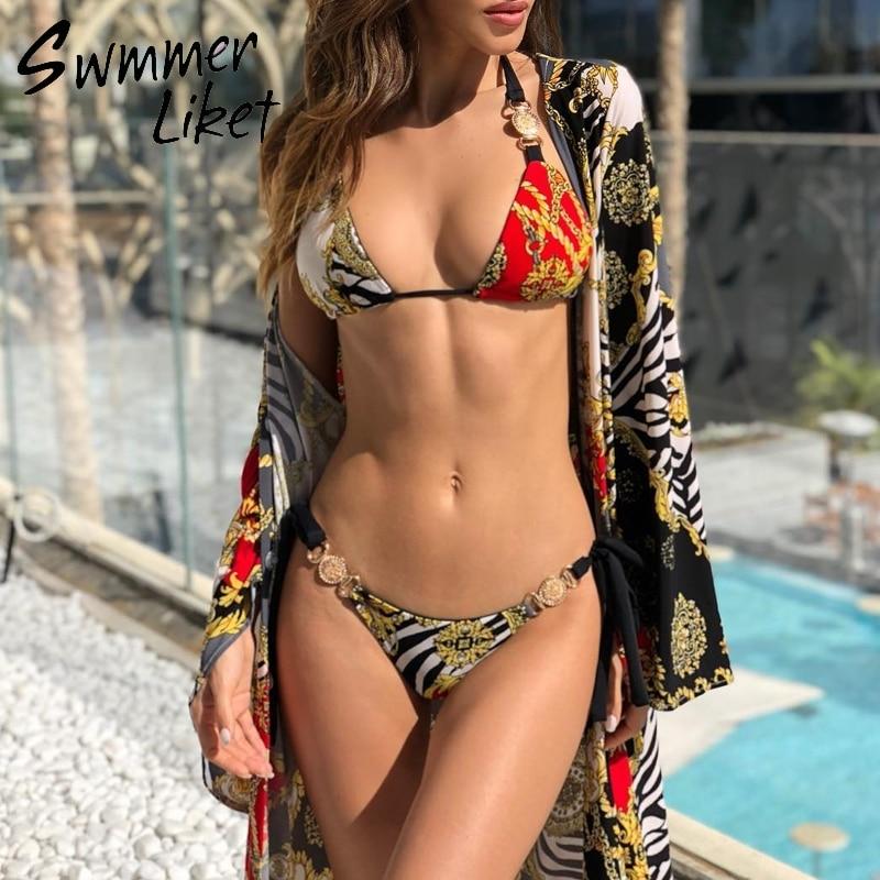 String Sexy Swimsuit Female 2019 New Bathing Suit Brazilian Micro Bikini Triangle Print Swimwear Women Bathers Two-piece Suit