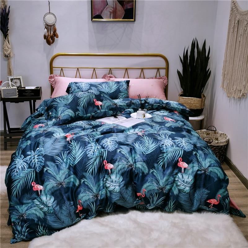 e6d3637b00 Sedoso Flamingo impressão de Algodão Egípcio Conjunto de Cama Queen Size  Rei Capa de Edredão conjunto de Cama Folha De Cama Macia lençol ropa de cama