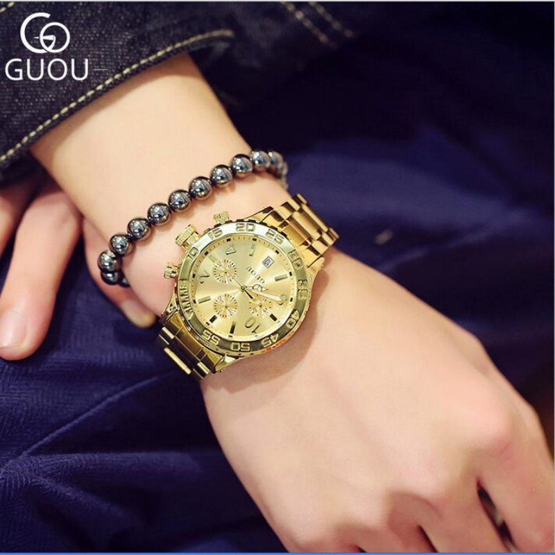 GUOU Top Luxury Gold Wrist Watch Men Watch Full Steel Fashion Mens Watches Men's Watch Clock relogio masculino erkek kol saati forsining full calendar tourbillon auto mechanical mens watches top brand luxury wrist watch men erkek kol saati montre homme