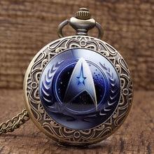 2016 Recién Llegado de Moda Star Trek Tema UFP Logo Reloj de Bolsillo de Cuarzo de Bronce Con Collar de Cadena Fob Reloj Hombres Mujeres Regalo Unisex