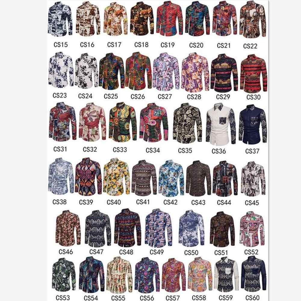 春秋の新メンズファッション長袖シャツカジュアルビーチスタイルの人格の男性プリントトップスシャツフルサイズ m-5XL