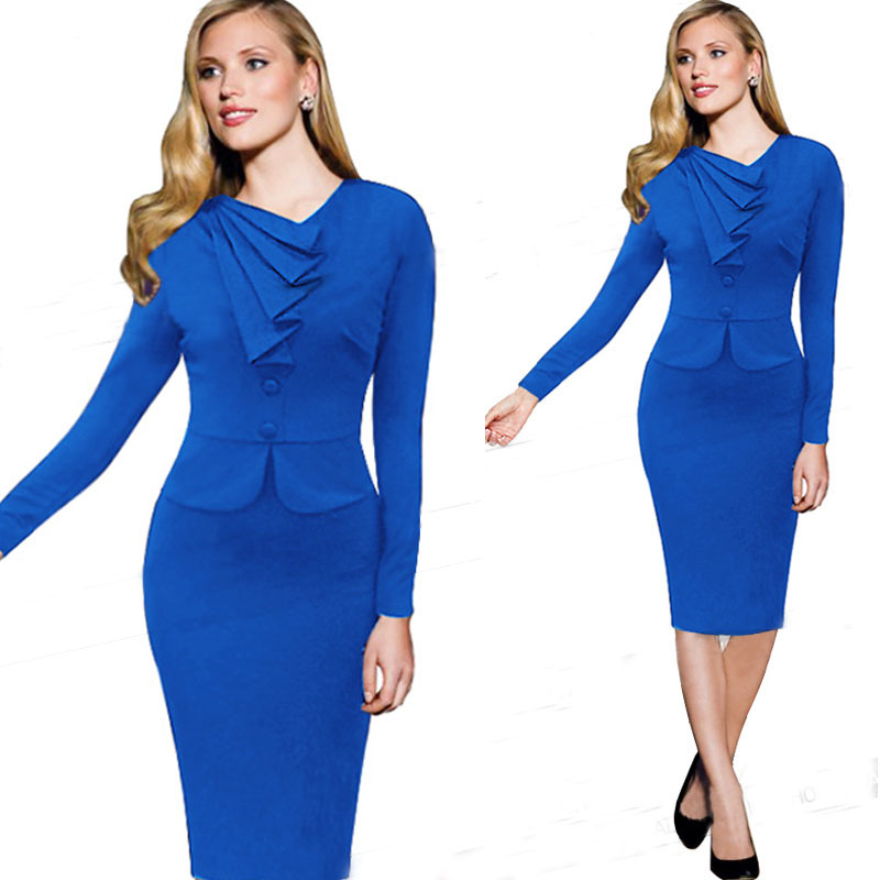 Women Faux Twinset Dress Work Office Dresses Long Sleeve Autumn Purple Blue Business Party Plus Size Stretch Slim Pencil In From S