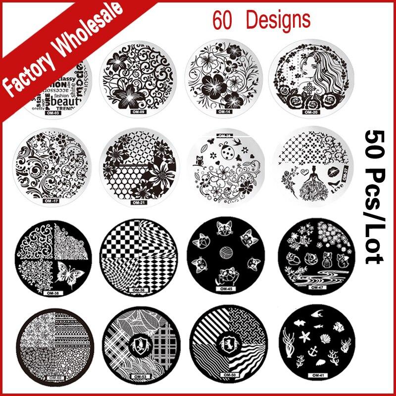 50 unids 60 Nuevos Diseños Nail Art Estampa Imagen Platea Polaco Plantilla de Uñ