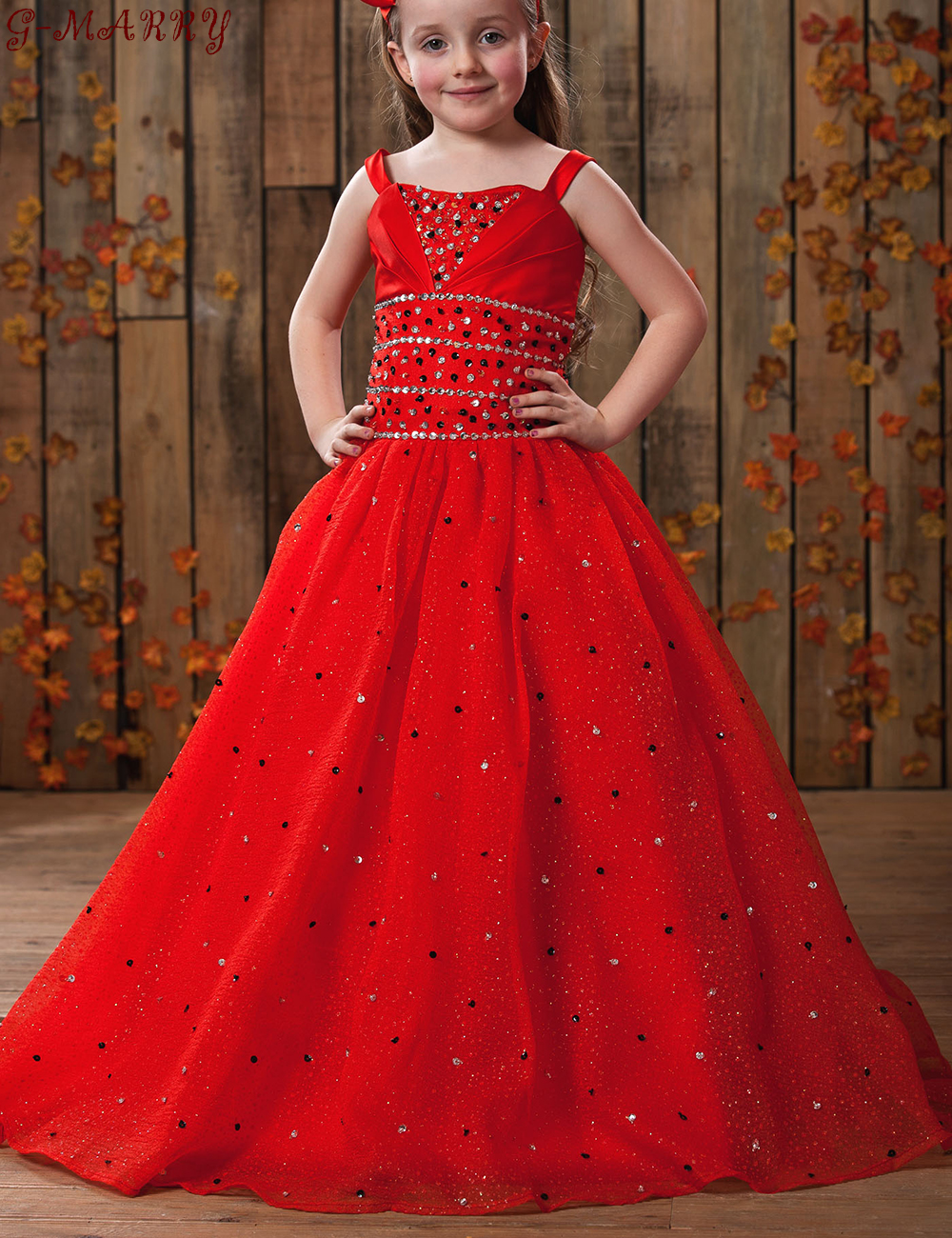 2016 New Hot Sale Straps Sweetheart Red Tulle Beading ... Red Dresses For Girls Age 9