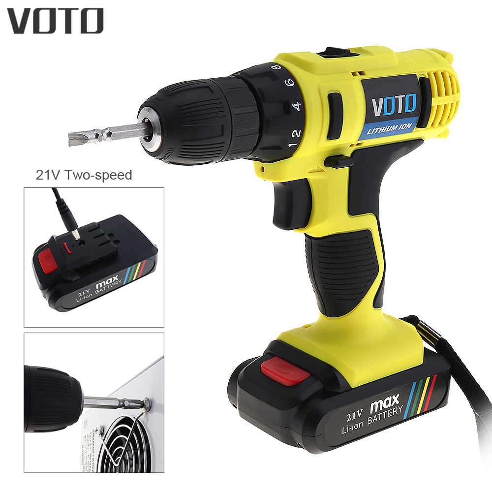 VOTO AC 100 240V Cordless 21V Electric Screwdriver Drill with Lithium Battery and Two speed Adjustment for Handling Screws