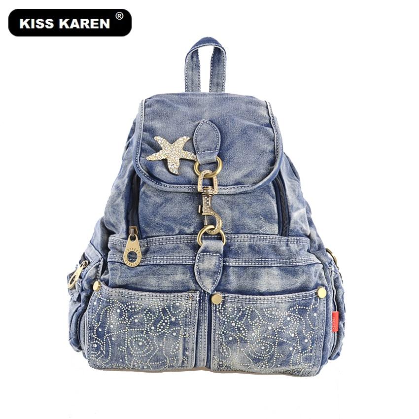 KISS KAREN Luxury Design Fashion Jeans Bag Denim Backpacks Cowboy Women Casual Daypacks Ladies Backpack Bag Womens backpacksKISS KAREN Luxury Design Fashion Jeans Bag Denim Backpacks Cowboy Women Casual Daypacks Ladies Backpack Bag Womens backpacks