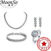 Moonso 925 пробы серебряные ювелирные изделия два подарка обручение Свадебные Moonso наборы для ухода за кожей невесты кольцо Африканский J692S